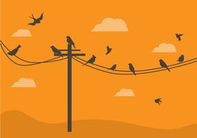 FREE BIRDS ON A WIRE VECTOR