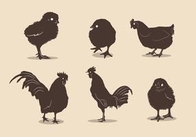 Chicken silhouette vectors