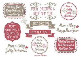 Hand Drawn Style Christmas Label Set
