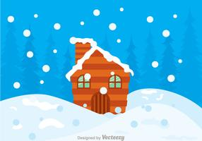 Log Cabin Snow In Hills Vector