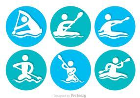 River Rafting Circle Icons