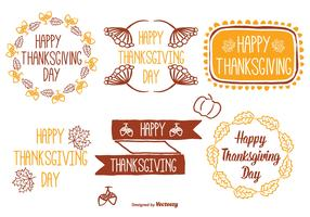 Cute Hand Drawn Thanksgiving Label Set