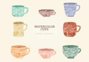 Watercolor Vector Cups