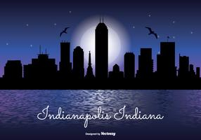 Indianapolis Night Skyline Illustration