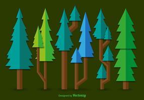Flat green pine vectors