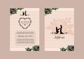 Rose Wedding Invite Vector
