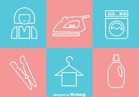 Laundry White Outline Icons