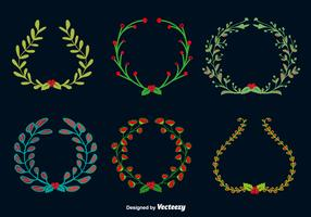 Doodle christmas round wreaths