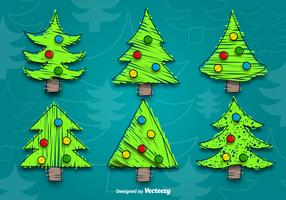 Cartoon christmas tree vectors