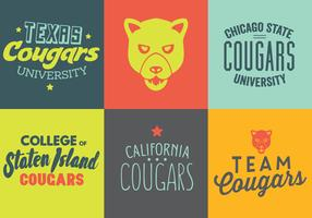 Vector Set of Cougar Logos and Labels