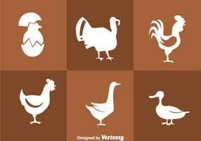 Fowl White Silhouette Icons