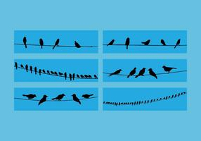 Birds On Wire Vector Set