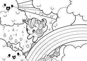 Rainy Rainbow Unicorn Scene Coloring Page