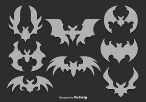 Gray bats silhouettes