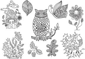 Free Enchanted Forest Coloring Vectors