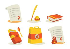 Book and Document Burning Vector Set