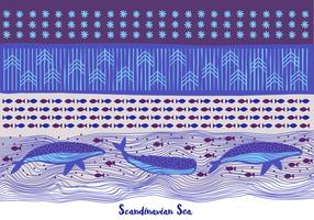 Sea Background with Whales and Pattern