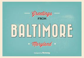 Retro Baltimore Maryland Greeting Illustration