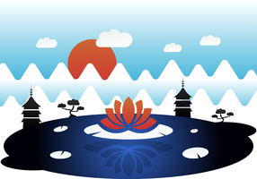 Asian Mystical Vector Landscape