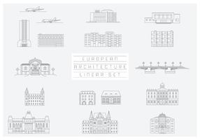 Free Vector Collection of Linear Icons and Illustrations with Buildings