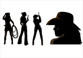 Cowgirl silhouette vectors