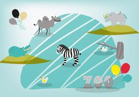 Free Cute Hand Drawn Zoo Animals Vector Background