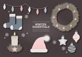 Pastel Winter Essentials Vector Illustration