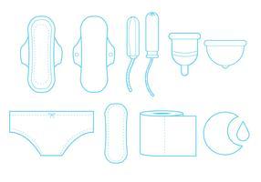 Feminine Hygiene Line Art Icon Set