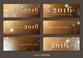 Happy New Year 2016 Golden Banners