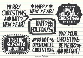 Hand Drawn Marker Pen Style Christmas Labels