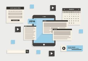 Free Web Elements Vector Background with Touchscreen Device