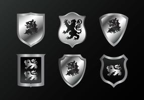 Silver Lion Rampant Vector