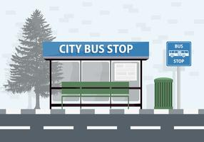 Free City Bus Stop Vector Background