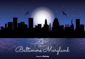 Baltimore Night Skyline Illustration
