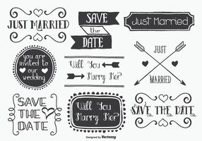 Hand Drawn Style Mariage Label Set