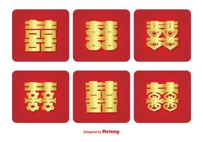 Chinese Double Happiness Symbol Icon Set