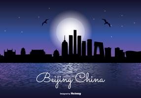 Beijing China Night Skyline Illustration
