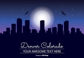Denver Colorado Night Skyline Illustration