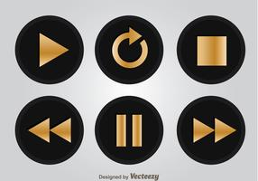 Black And Gold Media Player Buttons