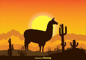 Landscape Alpaca Scene Illustration