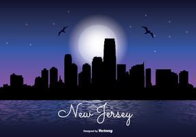 New Jersey Night Skyline Illustration