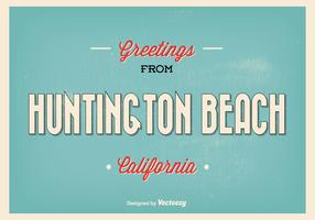 Huntington Beach Retro Greeting Illustration