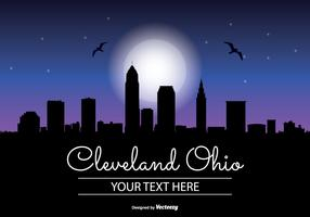 Celeveland Ohio  Night Skyline Illustration