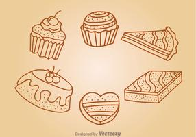 Chocolate Cake Outline Icons