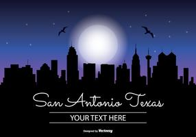 San Antonio Texas Night Skyline Illustration