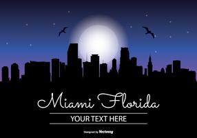 Miami Night Skyline Illustration