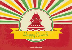 Retro Style Happy Diwali Illustration
