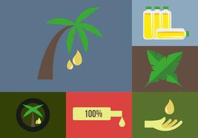Palm Oil Icons Illustrations