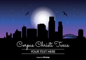 Corpus Christi Night Skyline Illustration