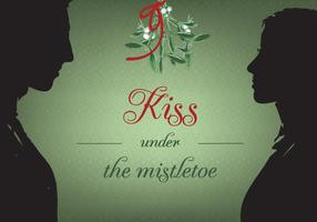 Free Kiss Under Christmas Mistletoe Vector Background